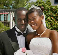 Nish Simmons and Constable Colville Garrick wedding on Salt Cay - photo by Michele McNair - all rights reserved.